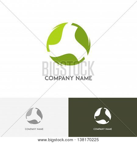 Nature logo - fresh green leaves in circle on the white background