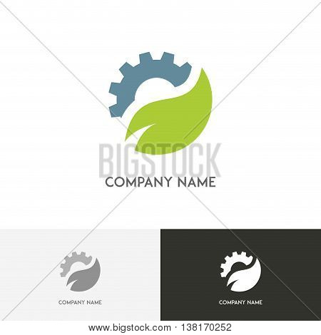 Ecology and industry logo - gear wheel and fresh green leaf on the white background