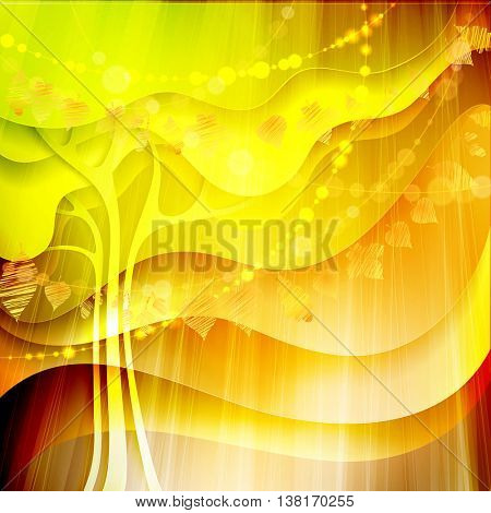 Autumn abstract background with tree and different gold leaves. Bokeh lights fall vector illustration