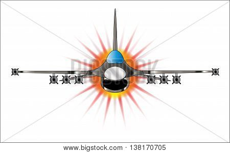 A depiction of a modern jet fighter at full throttle.