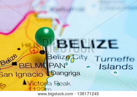 Dangriga pinned on a map of Belize