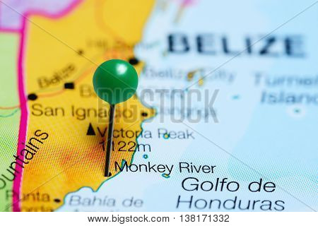 Monkey River pinned on a map of Belize