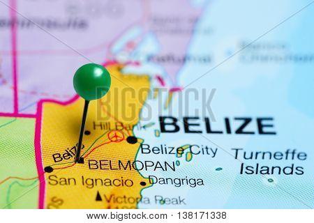 Belmopan pinned on a map of Belize