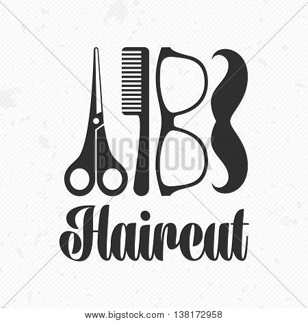 Vector retro barber shop label, logo, badges and design element. Hair salon design icon in flat style. Universal logo template for barber shop.