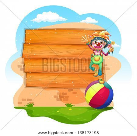 Wooden sign with clown standing on ball illustration