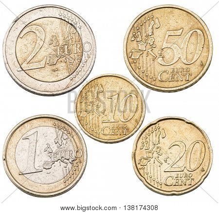 Set of Euro coins isolated on the white background.File contains clipping paths for each coin.