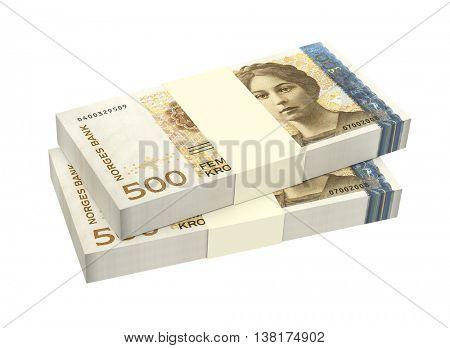 Norwegian krone isolated on white background. 3D Illustration.