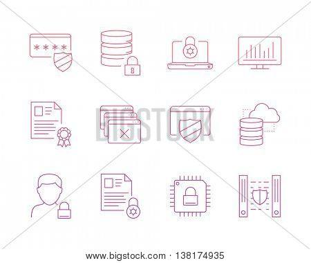 Data protection icons set perfect line
