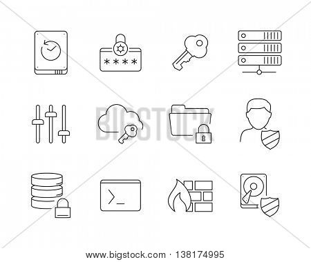 Data protection icons set perfect line 2 // Black & white