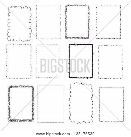 set handdrawn frames, vector illustration, isolated on white background