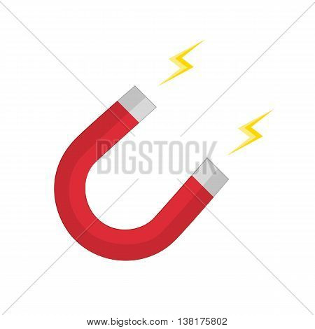 Vector illustration of red horseshoe magnet, magnetism, magnetize, attraction. Vector magnet icon in flat style.