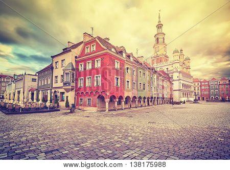 Vintage Stylized Old Market Square In Poznan.
