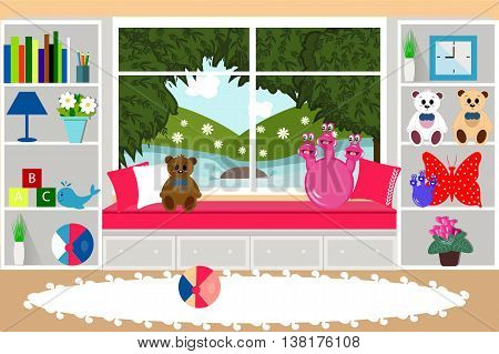room for children, child's, toys, furniture, vector illustration