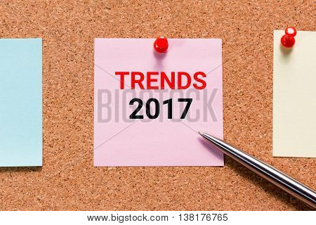 Trends 2017 with sticky notes paper and push pin concept