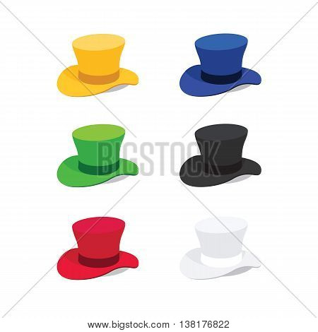 Vector Illustration of Six Colors Top Hat, Flat Style