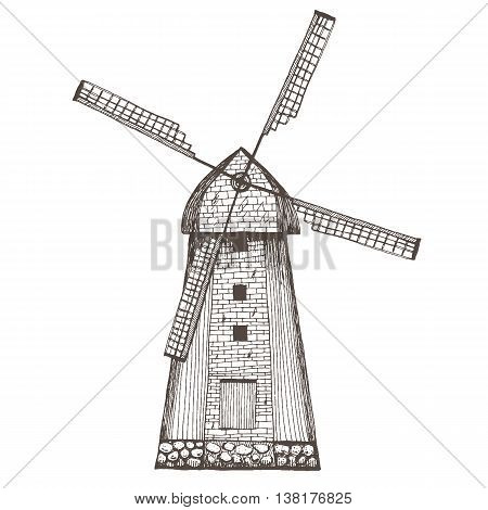 Hand drawn illustration of a mill. Vector illustration drawn in ink