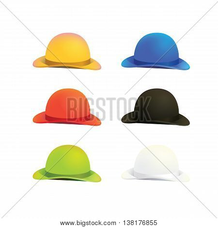 Vector Illustration of Six Colors Bowler or Derby Hat
