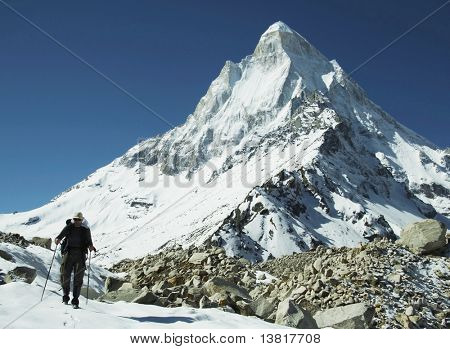 Climber on Shivling peak background