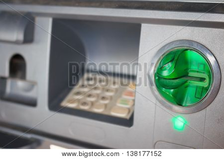 Bank machine ATM  keyboard automatic close - up