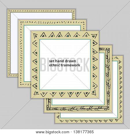 set hand drawn ethnic framework, color vector illustration