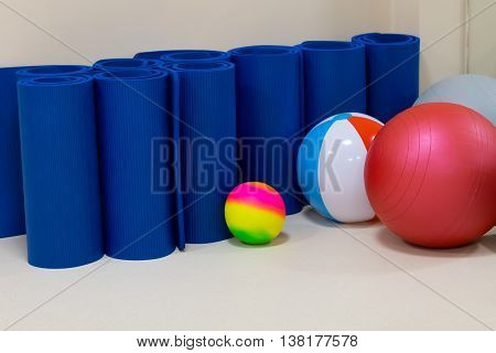 rehabilitation gym equiment: balls mats steps mirror