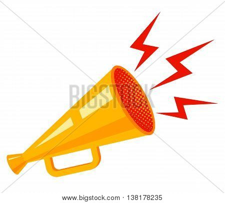 Vector vintage poster with yellow megaphone on white background