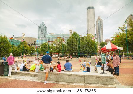 ATLANTA - AUGUST 29: Centennial Olympic park with people on August 29 2015 in Atlanta GA.