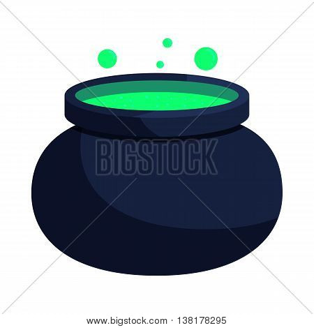 Witch cauldron with green potion icon in cartoon style on a white background