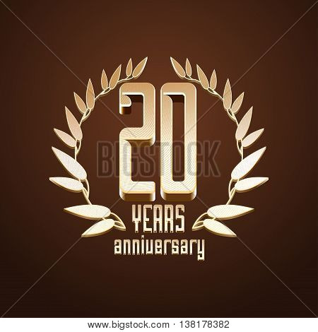 20 years anniversary vector logo icon. 20th birthday age classic decoration design element sign emblem symbol with golden branch
