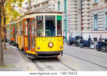 MILAN ITALY - NOVEMBER 25: Old tram at Piazza Castello on November 25 2015 in Milan Italy.