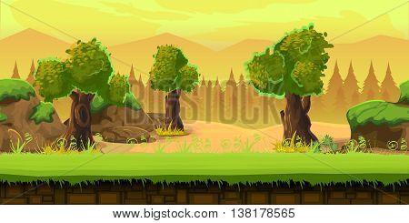 Cartoon forest landscape, endless vector nature background for games. Nature tree, Stones, art illustration 1024x512