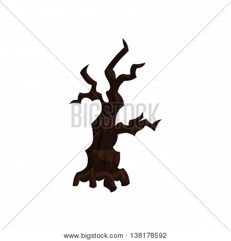 Sinister tree icon in cartoon style on a white background