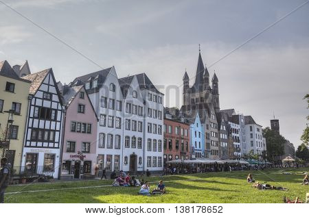 COLOGNE GERMANY - JUNE 8: People at the old city center on June 8 2016 in Cologne Germany.