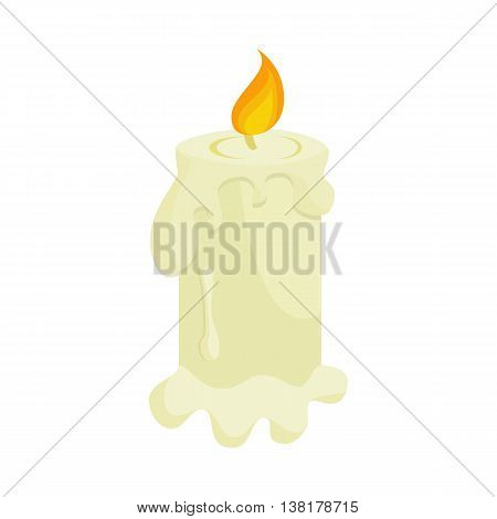 Burning candle icon in cartoon style on a white background