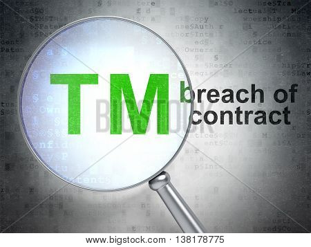 Law concept: magnifying optical glass with Trademark icon and Breach Of Contract word on digital background, 3D rendering