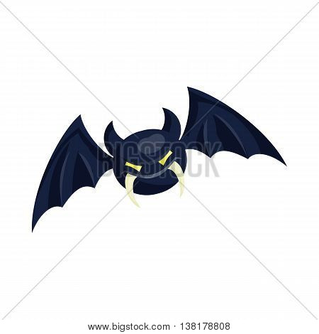 Bat icon in cartoon style on a white background