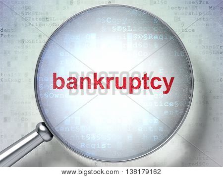 Law concept: magnifying optical glass with words Bankruptcy on digital background, 3D rendering
