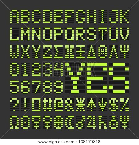 Score table digital font letters and numbers. Acid green alphabet letters and numbers on black background.