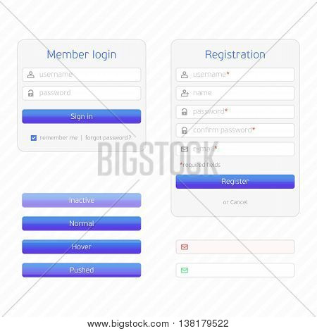 Registration form and login form with simple icons. UI elements. Login, Registration and additional elements form, flat design.