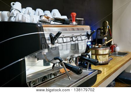 The coffee machine in the restaurant bar