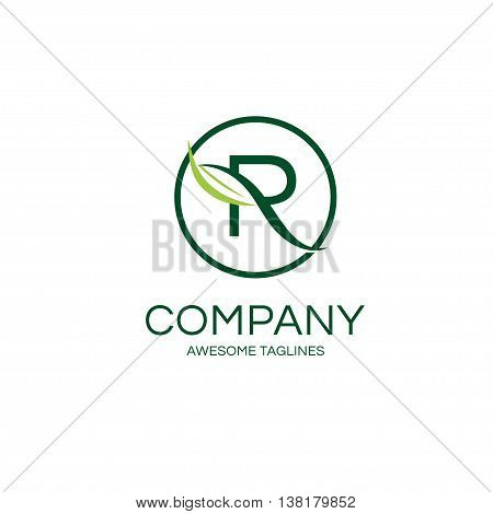 elegant letter R with leaf and circle logo concept