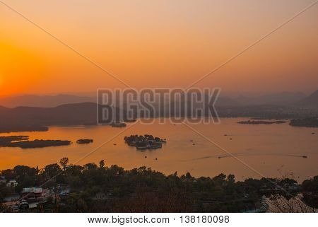 View Of The City. Sunset. Udaipur, India.