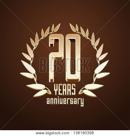 70 years anniversary vector logo icon. 70th birthday age classic decoration design element sign emblem symbol with gold branch