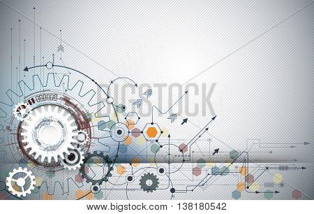 Vector illustration gear wheel hexagons and circuit board.  Hi-tech digital technology and engineering, digital telecom technology concept. Abstract futuristic on light blue color background