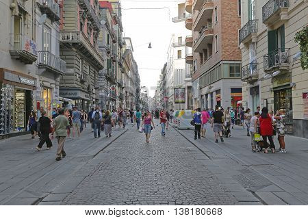 NAPLES ITALY - JUNE 25: Via Toledo in Naples on JUNE 25 2014. Via Toledo Shopping Street and Toledo Subway Station at Historic Centre in Naples Italy.