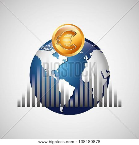 business world money economy finance isolated, vector illustration