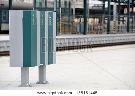 New environmental waste bins at the train station