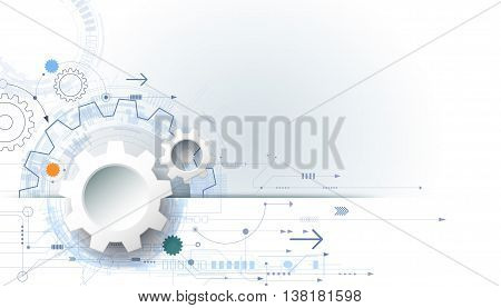Vector futuristic technology background 3d white paper gear wheel on circuit board. Illustration hi-tech engineering digital telecoms concept. With space for content, web, template, business, tech and presentation
