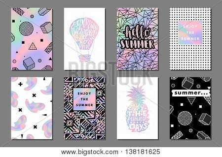 Creative bright summer journaling cards. Retro memphis holographic posters with balloon and pineapple. Hello, enjoy typography. Vector minimal design for banner, cover, flyer, brochure, wallpaper, invitation