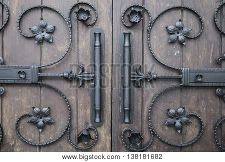 Close up image of a decorative iron details in gothic style and for design background